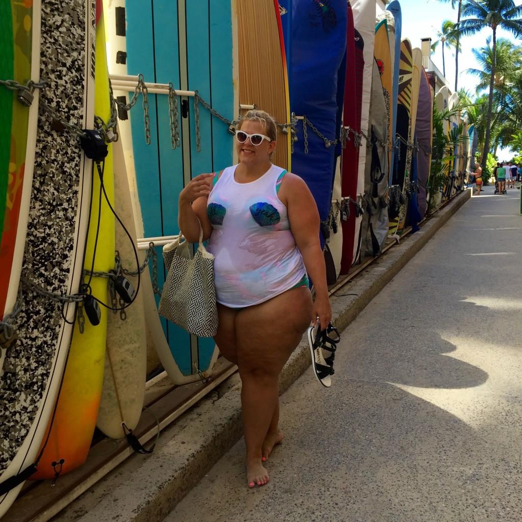 Plus Size Fashion Blog Little Mermaid Fatkini Beach Disney Outfit 4