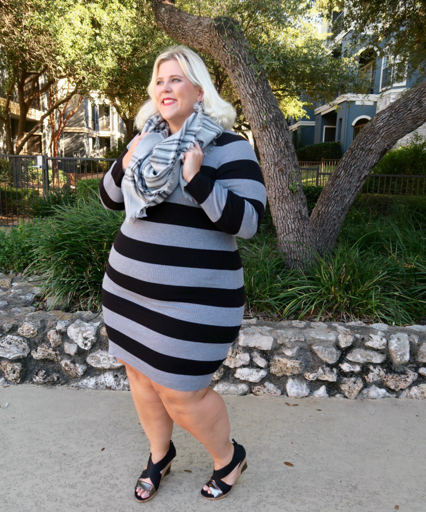 Glitter + Lazers | How to Dress up A Wide Striped Sweater Dress