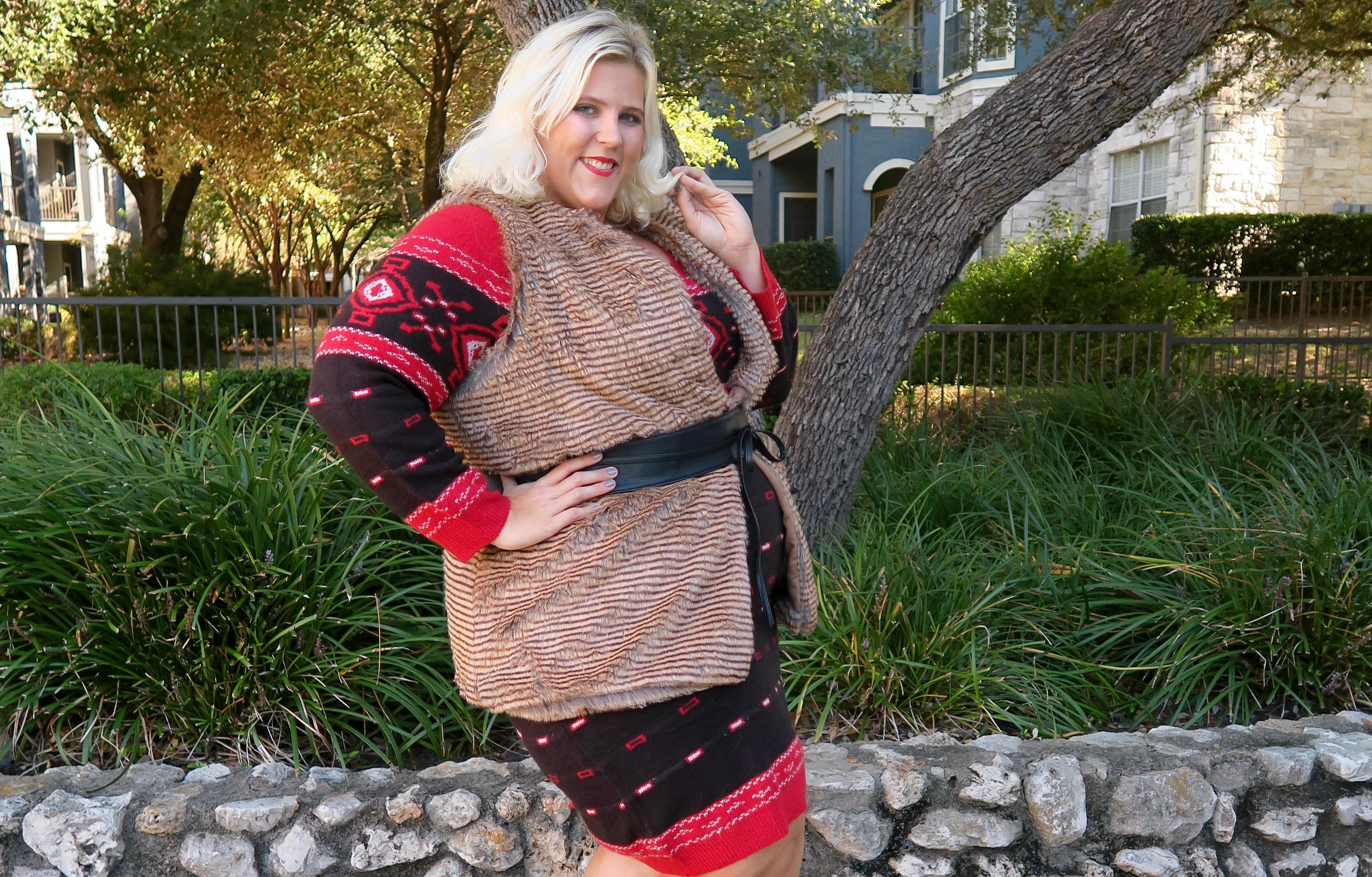 Fur + Fair Isle: A Favorite Sweater Dress Pairing