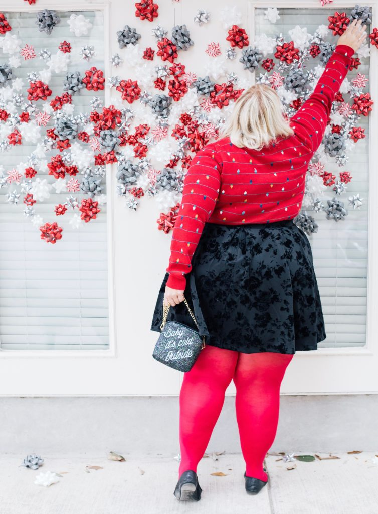 Size outfit inspiration a plus size holiday look inspired by christmas