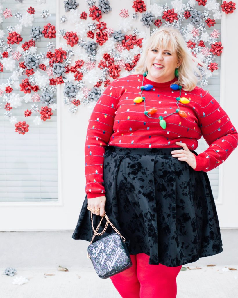 plus size holiday outfit inspired by decorations 6