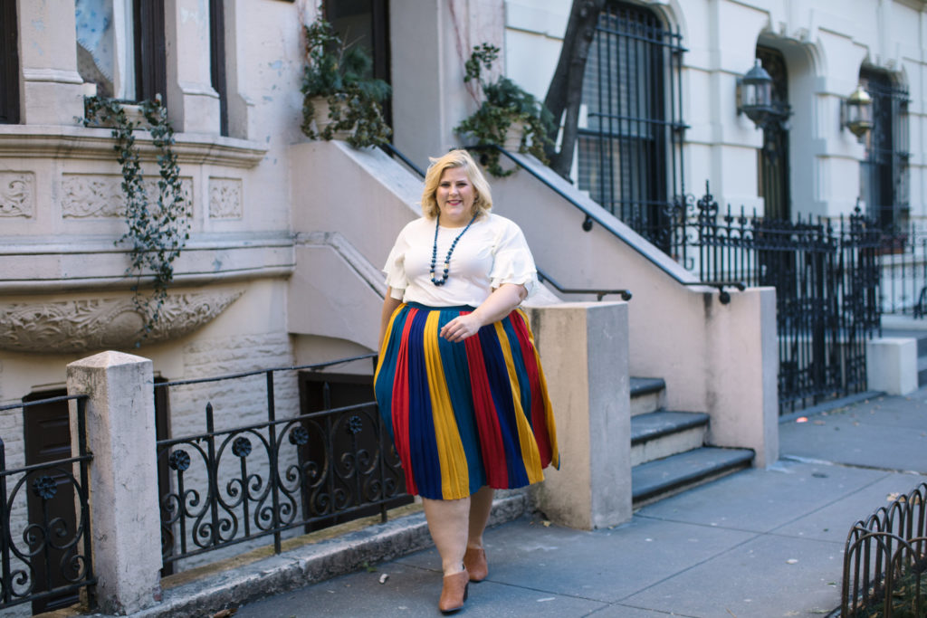 5d86381815 ... to share how wearing color can change your life. People always comment  on how colorful I dress. Take for example, this bold, striped and pleated  skirt ...